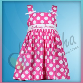 Pink Polka Dot Girls Birthday Dress from Treasure Box Kid