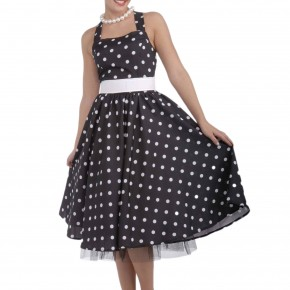 black and white 50s polka dot dress
